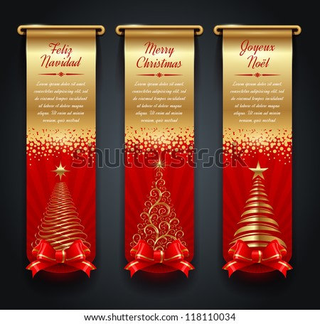 Vertical golden banners with greetings and Christmas trees - stock vector