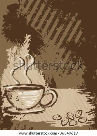 Vertical grungy coffee background(vector); a JPG version is also available