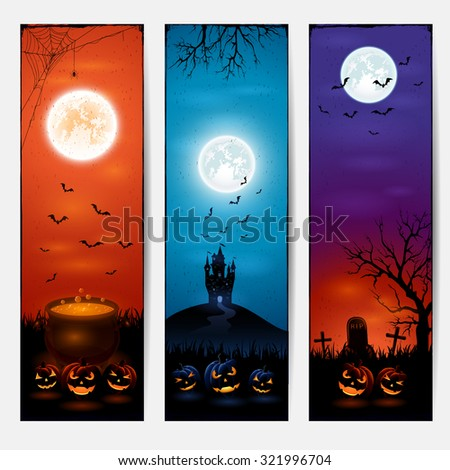 Vertical Halloween banners with castle, pumpkins on graveyard, and witches pot, illustration. - stock vector