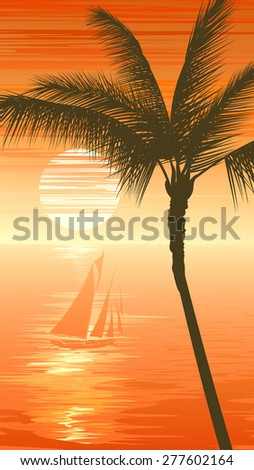 Vertical illustration of sunset in ocean with yacht, palm tree in orange tone. - stock vector