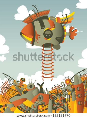 vertical illustration with dirigible - stock vector