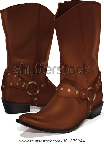 vertical image of a pair of brown cowboy boots on a white background
