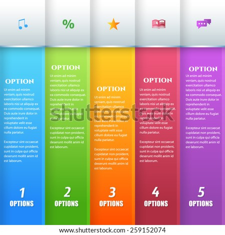 Vertical Infographics Template Multicolor Style Vector Design - stock vector
