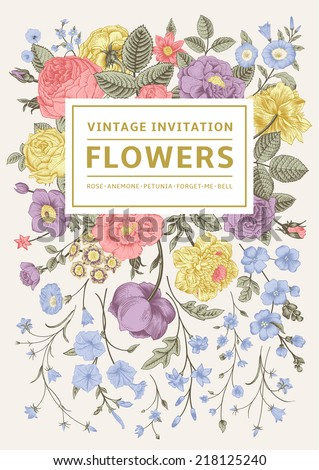 Vertical invitation. Vintage greeting card with colorful flowers. Vector illustration. Pastel color. - stock vector