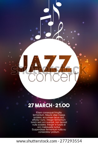 Vertical music jazz poster with blurred background and text. Vector illustration. - stock vector