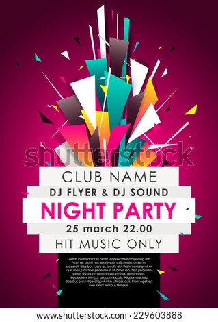 Vertical music party background with colorful graphic elements and place for text.  Vector illustration. - stock vector