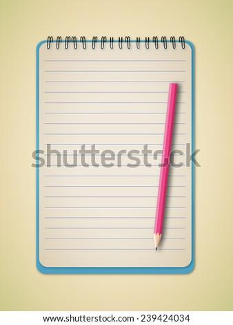 Vertical Notebook with Pencil Vector  - stock vector