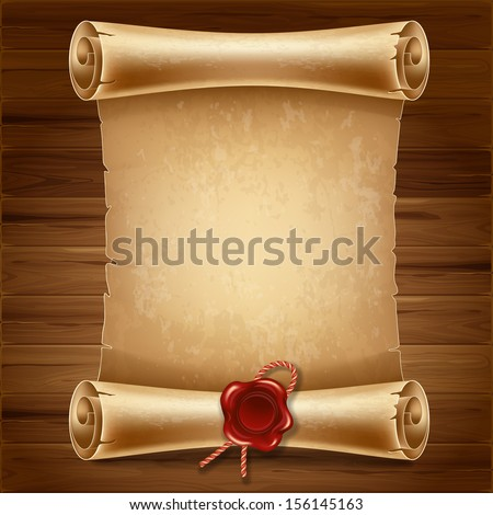 vertical old scroll paper on wooden stock vector 156145163, Powerpoint templates
