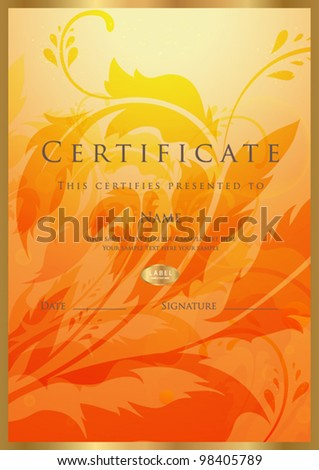 Vertical orange certificate completion template floral stock vertical orange certificate of completion template with floral pattern and golden border sign usable for yadclub Images