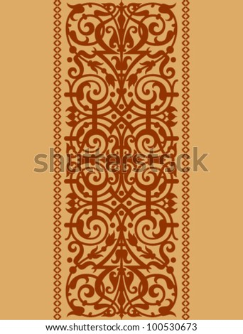 vertical ornamental band of floral on a beige background