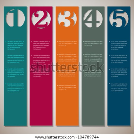 Vertical paper numbered banners. Vector design template - stock vector