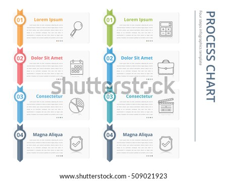 Vertical Process Chart Flow Chart Template Stock Vector