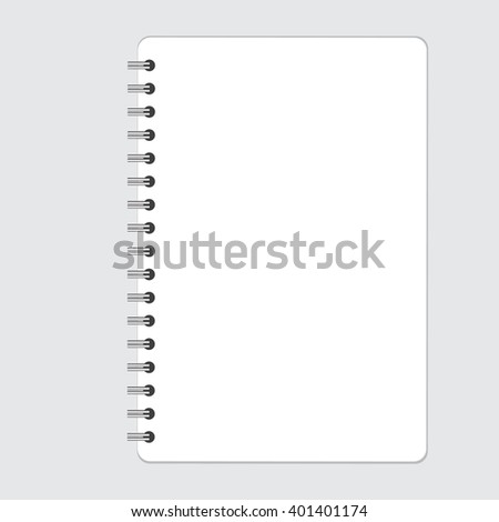Vertical realistic spiral notepad notebook isolated on white vector.  Blank realistic spiral notepad notebook isolated on white vector. Display Mock up. - stock vector