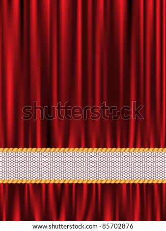 Vertical red draped background of silk and lace bands - stock vector