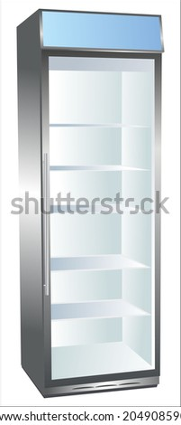 Vertical refrigerator showcase for trade refrigerated food. - stock vector