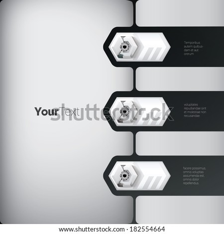 Vertical robot style business information vector graphics layout base and horizontal robotic elements. Eps 10 vector. Grey edition.  - stock vector