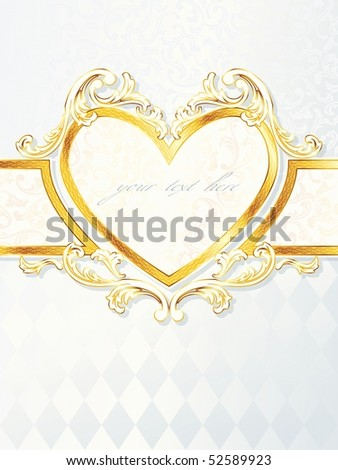 Vertical rococo wedding banner with heart emblem, includes transparencies (Eps10); JPG version also available - stock vector