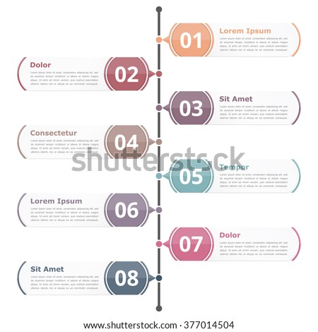 Vertical rrocess diagram template with eight numbers, steps or options, vector eps10 illustration - stock vector
