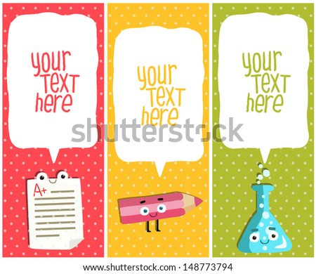 Vertical School banners or Bookmarks. test, pencil, flask characters - stock vector