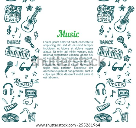 Vertical seamless background with hand drawn doodle music border - stock vector