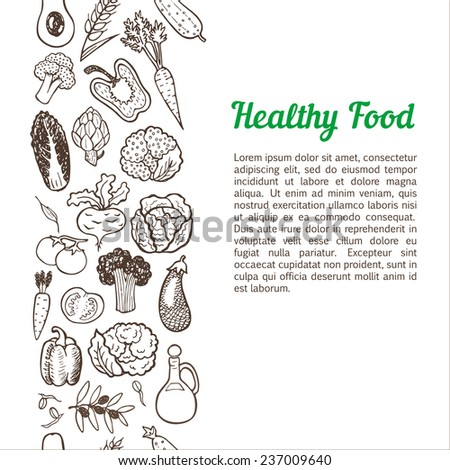 Vertical seamless background with hand drawn vegetables. - stock vector
