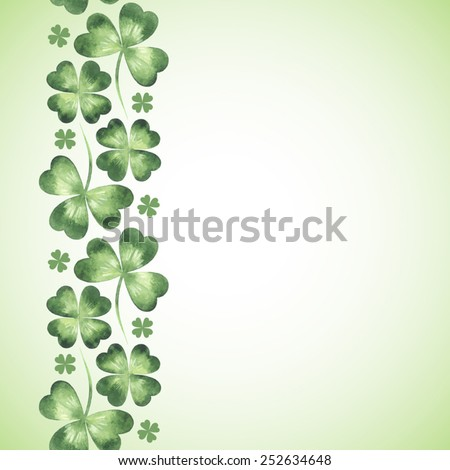 Vertical seamless border made of watercolor vector clover leaves pattern. St. Patrick Day background. Space for text. - stock vector