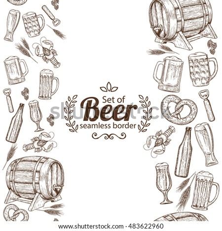 Vertical seamless borders of beer icons. Sketch style illustration of beer for vintage decorations of pub or bar menu. Vector.