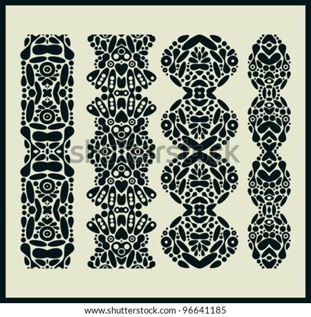 Vertical seamless patterns. Vector illustration of monochrome ornaments.