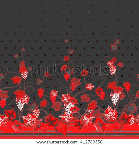 Vertical Seamless red gray floral pattern with grape, leaves and flowers on dark gray background. Hand drawn texture for clothes, bedclothes, invitation, card design etc. - stock vector