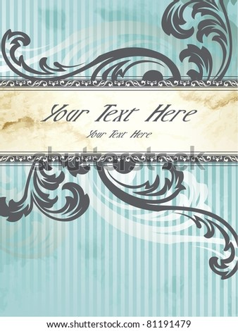 Vertical silver Victorian vintage banner (eps10); jpg version also available - stock vector