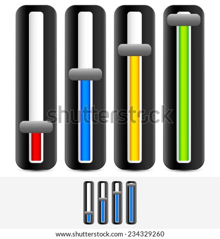 Vertical sliders, adjusters - stock vector
