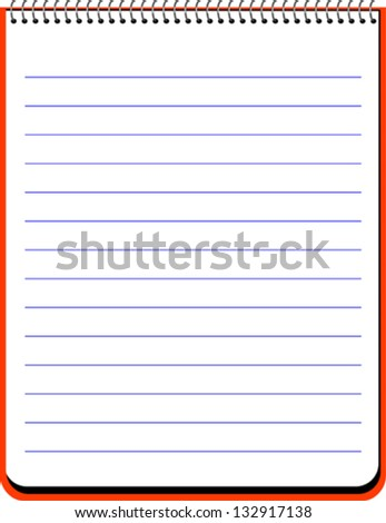 Vertical spiral notebook with lined sheets