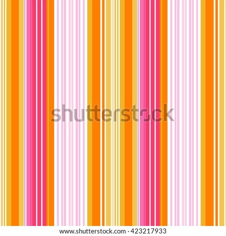 Vertical stripes pattern, seamless texture background. Pink, Orange, Yellow and white color stripes. Vector
