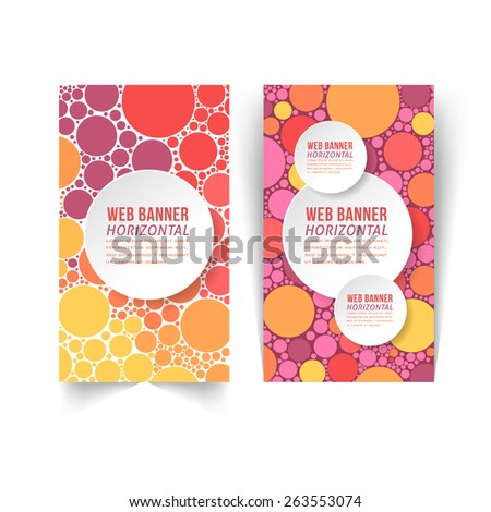 Vertical Style Web Banner Template, Multicolor Rounds Element  - stock vector