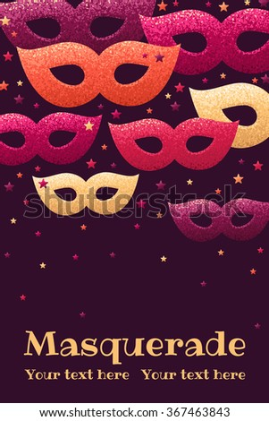 Vertical Template Masquerade Masks Colorful Stars Stock Photo Photo