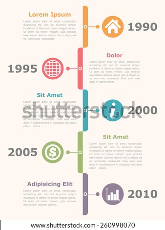 Vertical timeline infographics design template with icons, dates and text, vector eps10 illustration - stock vector