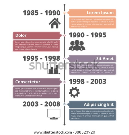 Vertical timeline infographics template with dates, icons, place for your titles and text, vector eps10 illustration - stock vector