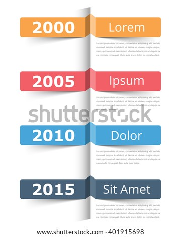 Vertical timeline infographics template with place for dates, titles and text, vector eps10 illustration - stock vector