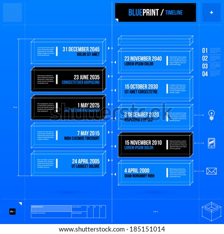 Vertical timeline template in blueprint style. EPS10 - stock vector