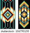 Vertical traditional Native American patterns, vector - stock vector