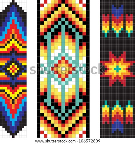Vertical Traditional Native American Patterns Vector Stock