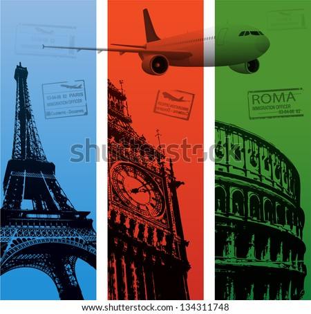 Vertical travel backgrounds - stock vector