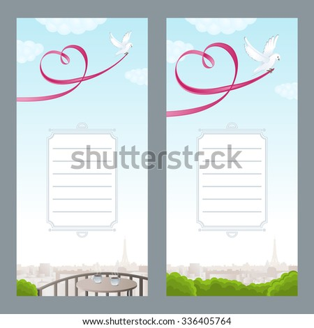 Vertical two romantic cards. White dove with pink ribbon in the form of heart. Beautiful view of Paris. Vector illustration. - stock vector