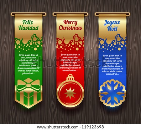Vertical vector banners with Christmas greetings and signs - stock vector