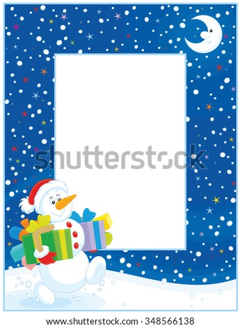 Vertical vector border with a funny snowman friendly smiling and carrying gifts on a snowy Christmas eve night - stock vector