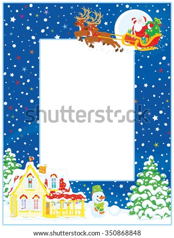 Vertical vector frame border of Santa Claus with his magic reindeers and sleigh flying over a house and firs on a snowy Christmas eve night - stock vector