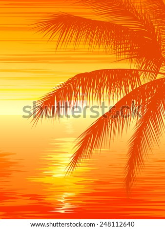 Vertical vector illustration of palm tree on beach at sunset. - stock vector
