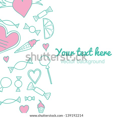 Vertical vintage background.Sweets pattern - stock vector