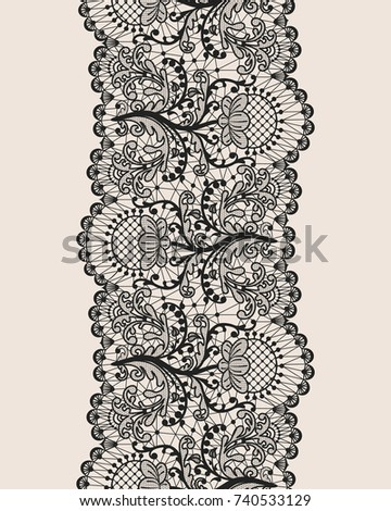 Vertically Seamless Beige Background And Lace Ribbon With Floral Pattern