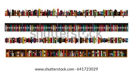 Vertically Seamless Book Shelves Border Design Stock